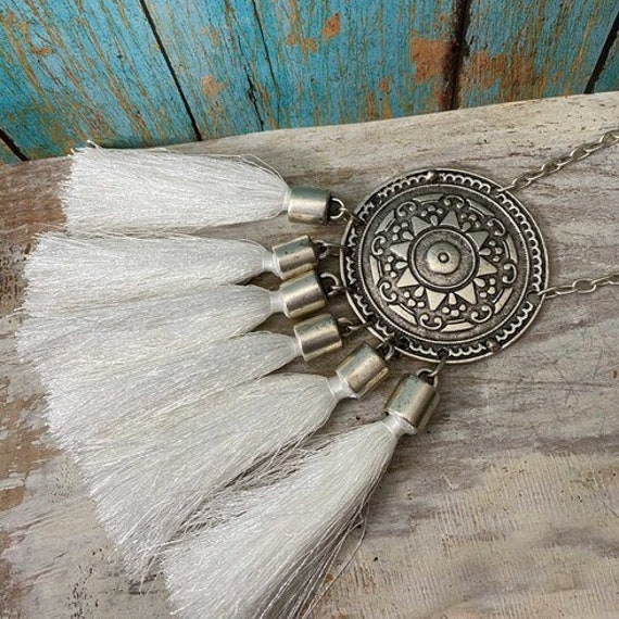 1098 - Antique Silver Plated Bohemian Boho Style  Ethnic Necklace