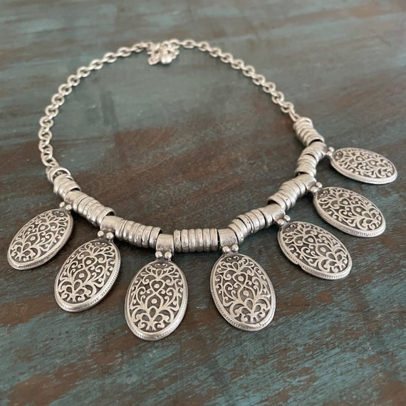 1023 - Bohemian necklace boho necklace coin necklace silver necklace ethnic jewelry tribal jewelry, body jewelry, choker necklace