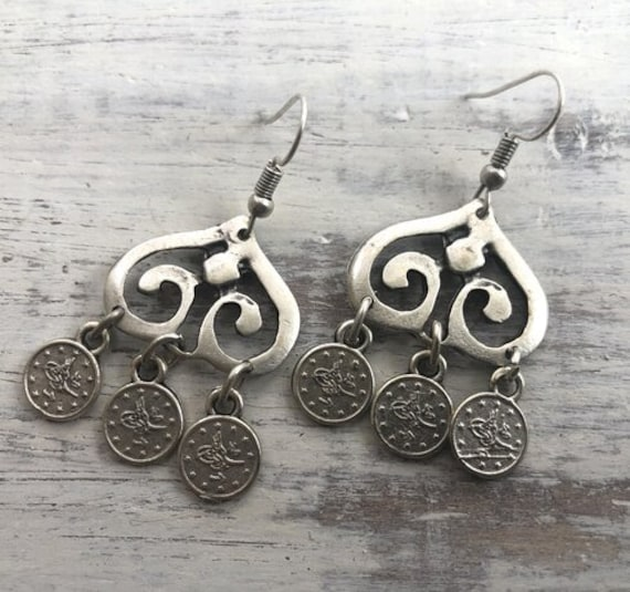 5629 - Dangle Earrings,  silver hoop earring, Silver coin