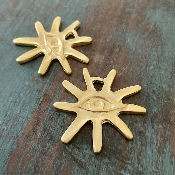 1059- Matte Gold Plated Earring Parts - Bohemian Brass Earring Findings. 2PCS.