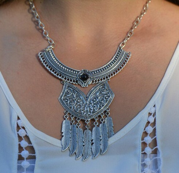 1065 - Bohemian necklace boho necklace coin necklace silver necklace ethnic jewelry tribal jewelry, body jewelry, choker necklace