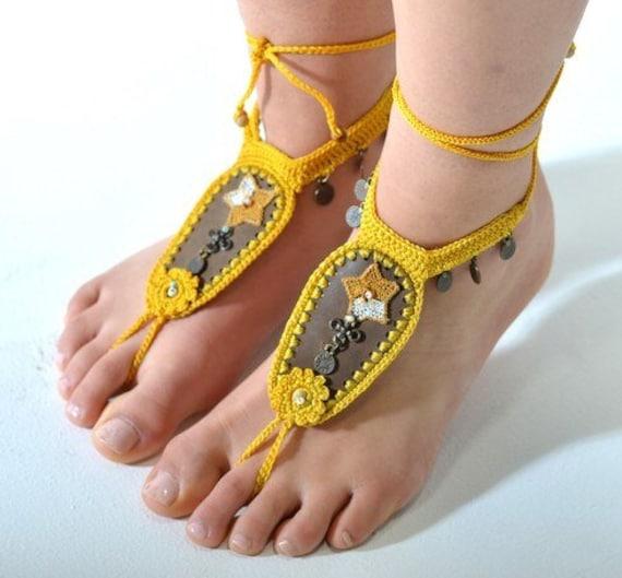 6025 - Festive Hand Crocheted Barefoot Sandals