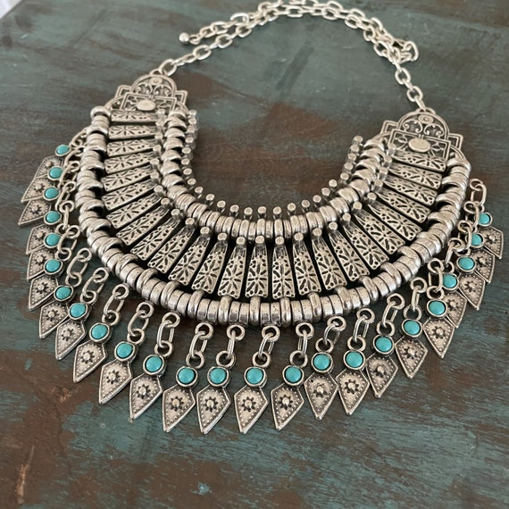 1079 - Bohemian necklace boho necklace coin necklace silver necklace ethnic jewelry tribal jewelry, body jewelry, choker necklace