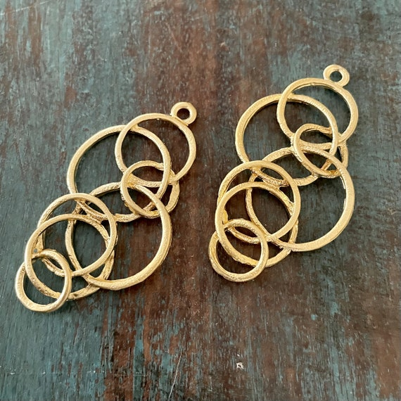 1138 - Matte Gold Plated Earring Parts - Bohemian Brass Earring Findings. 2PCS.