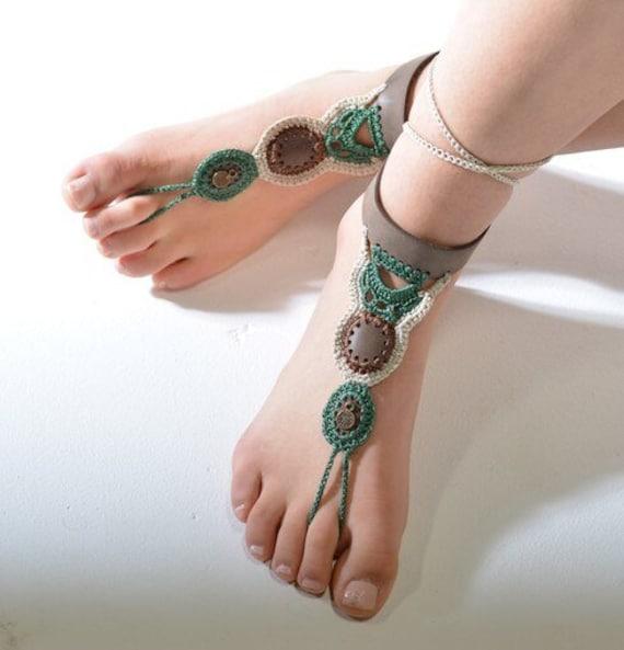 6010  - Spanish Moss Hand Crocheted Barefoot Sandals