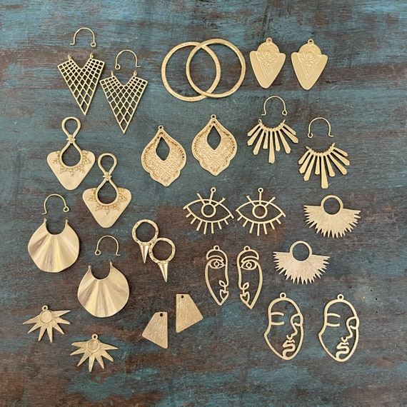34 PCS. Gold Coated -  One set, endless possibilities. Wholesale earring findings for jewelry making parts. Brass Earring Findings