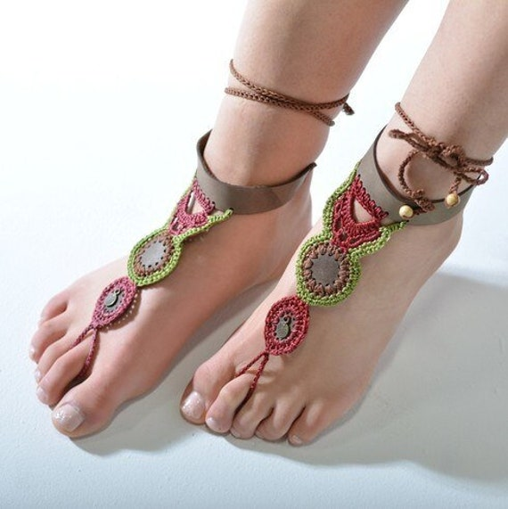6009  - Mineral Hand Crocheted Barefoot Sandals