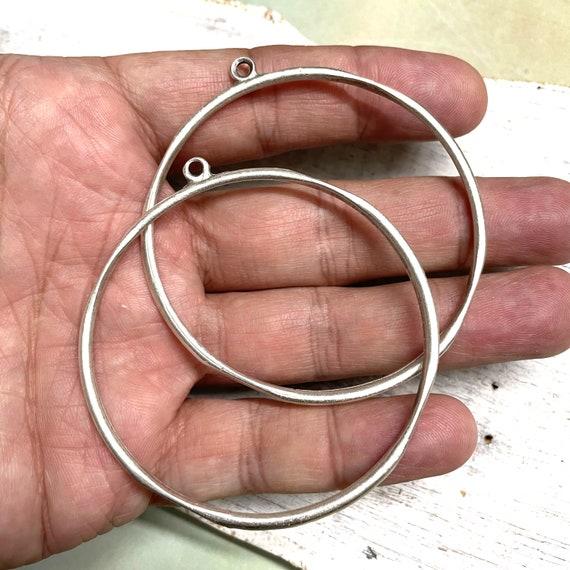 8105 - 2 Pcs -Seaview Circles - Antique Silver Plated Hoop Earrings - Circle Earring Findings