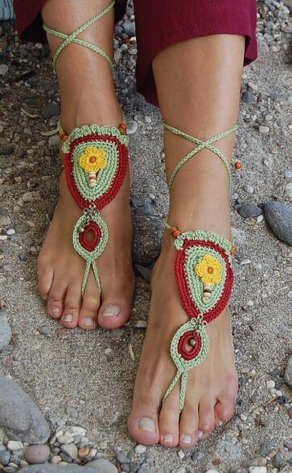 6022 - Zinnia  Hand Crocheted Barefoot Sandals