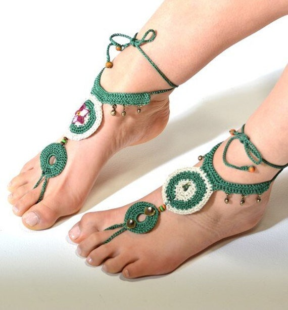 6016 - Jade  Hand Crocheted Barefoot Sandals