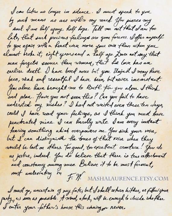 Captain Wentworth's Letter Art Print. Size 8x10 art   Etsy