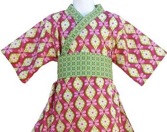 Girls Kimono Dress - PINK VERDE-  Japanese Yukata for Baby Toddler Girls Size 4/5