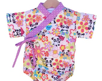 Baby Kimono Bodysuit - PANDA PARTY - Baby outfit - cool baby clothes japanese jinbei cute kawaii