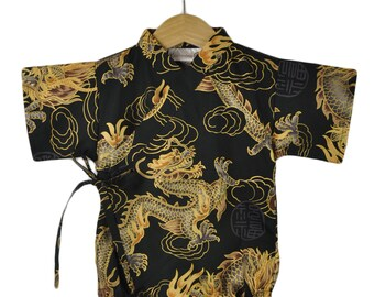 Baby Kimono Bodysuit - BLACK Golden Dragon - baby toddler - cute baby clothes japanese jinbei