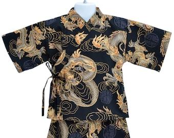 Kids Kimono Jinbei - BLACK DRAGON - Japanese pajamas loungewear kimono outfit boys girls