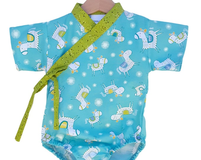 Baby Kimono Bodysuit - HAPPY HORSE - Baby outfit - cool baby clothes japanese jinbei