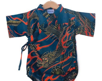 Baby Kimono Bodysuit - Lava Dragon - Baby Romper - cool baby clothes japanese jinbei