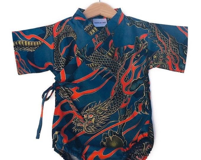 Baby Kimono Bodysuit - Lava Dragon - Baby Romper - cool baby clothes japanese jinbei