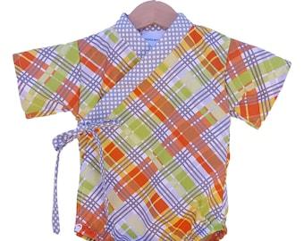 Baby Kimono Bodysuit - ORANGE PLAID - Baby outfit - cool baby clothes japanese jinbei