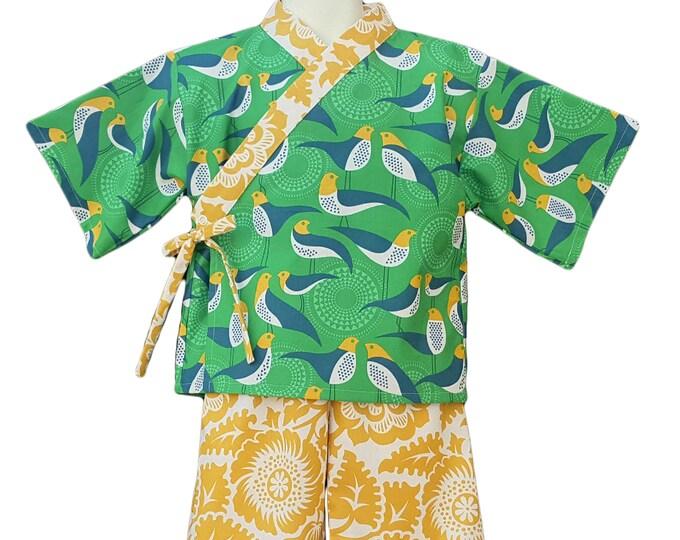 Kids Kimono - GREEN AVIARY - Japanese pajamas loungewear kimono outfit pajamas Jinbei