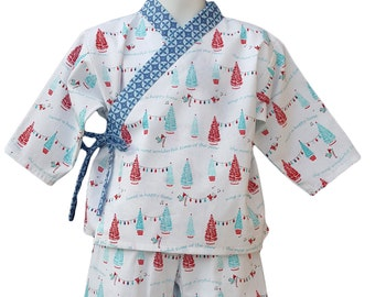 Kimono Pajamas Lounge wear Christmas Holiday Winter Kids Baby Children Boys Girls Unisex