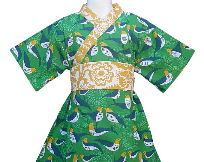 Girls Kimono Dress GREEN AVIARY Yukata Modern Kimono Baby Toddler Japanese
