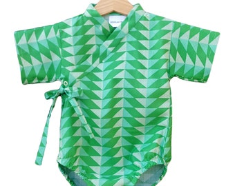 6 month Baby Kimono - GREEN GEOMETRY - Baby outfit - cool baby clothes japanese jinbei