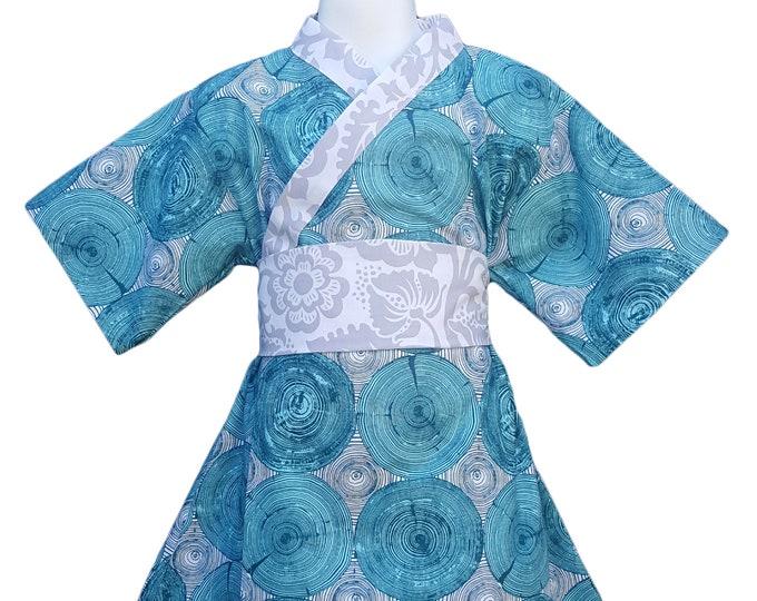 Kimono Dress TREE RINGS Yukata Modern Kimono Girls Baby Toddler Japanese