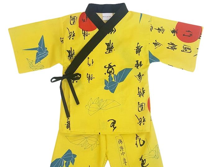 Kids Kimono Jinbei - ORIGAMI SUNRISE - Japanese pajamas loungewear kimono outfit pajamas