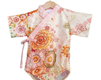 Baby Kimono Bodysuit - Japanese Garden- Baby Romper - Asian baby clothes japanese jinbei