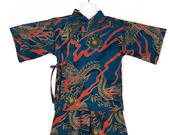 Kids Kimono Jinbei - LAVA DRAGON - Japanese pajamas loungewear boys kimono outfit boys pajamas