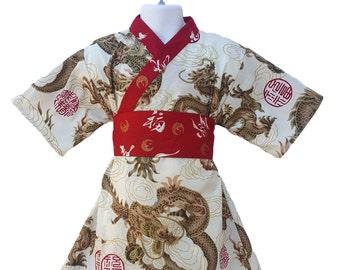 Girls Kimono BEIGE GOLDEN DRAGON Yukata Modern Dress Girls Baby Toddler Japanese