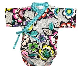 Baby Kimono Bodysuit - BRIGHT ACUPULCO - Japanese kimono onesie for baby and toddler