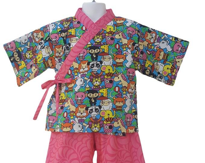 Kids Kimono Jinbei - ANIMAL KAWAII  - Japanese pajamas loungewear kimono outfit pajamas