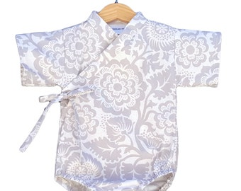 Baby Kimono Bodysuit - Gray Floral - Baby Romper - cool baby clothes japanese jinbei