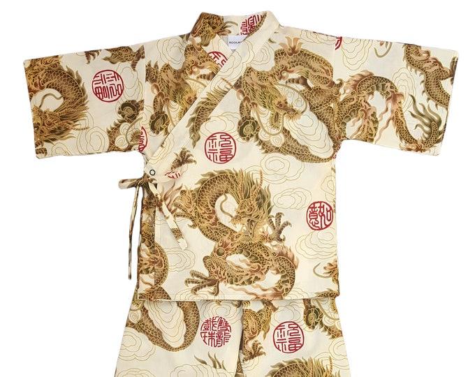 Kids Kimono Jinbei - BEIGE DRAGON - Japanese pajamas loungewear kimono outfit