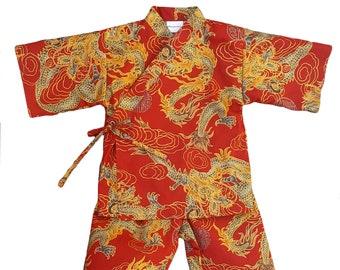 Kids Kimono Jinbei - RED DRAGON - Japanese pajamas loungewear boys kimono outfit boys pajamas