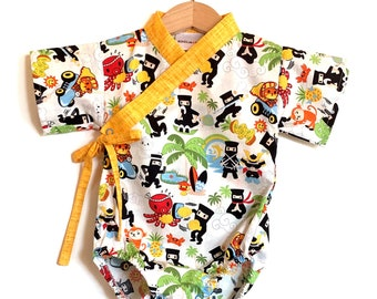 Baby Kimono Bodysuit - Ninja Kawaii - baby toddler - cute baby clothes japanese jinbei