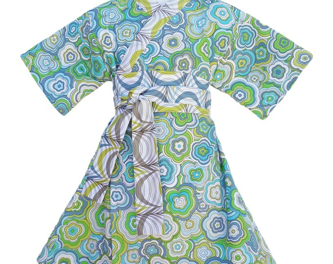 Kimono Dress in MODERN FLORAL Yukata Modern Kimono Girls Baby Toddler Japanese Asian blue green