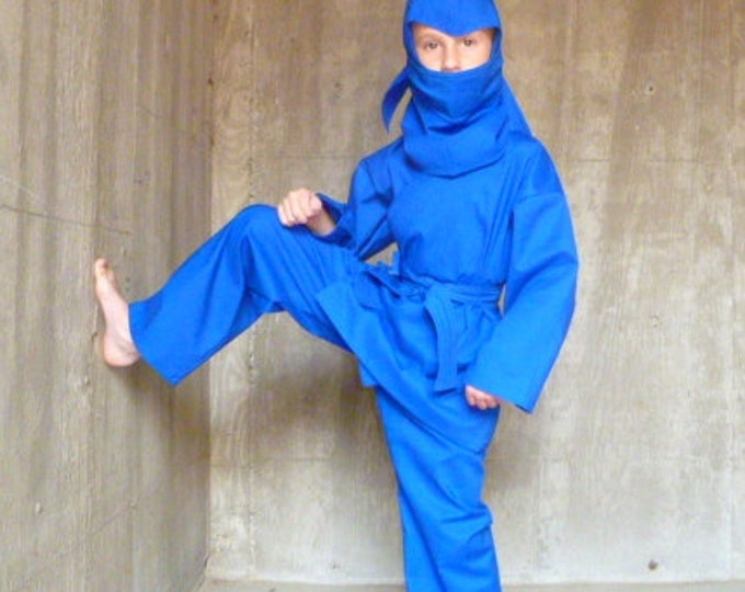 Ninja Costume - Choose your color - red green blue black white gold- sizes 2T up to 10 years