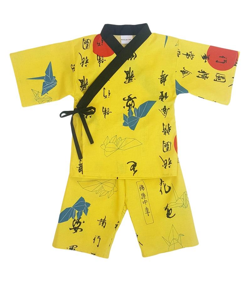Kids Kimono Jinbei  ORIGAMI SUNRISE  Japanese pajamas image 0