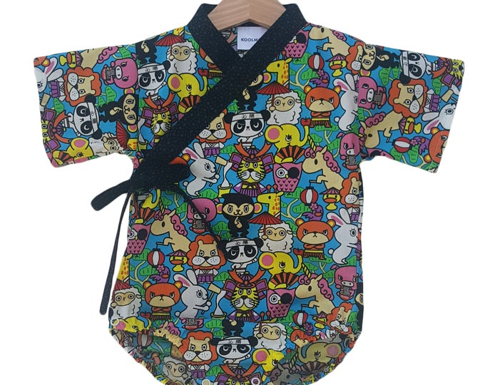 Baby Kimono - ANIMAL KAWAII - Baby outfit - cool baby clothes japanese jinbei
