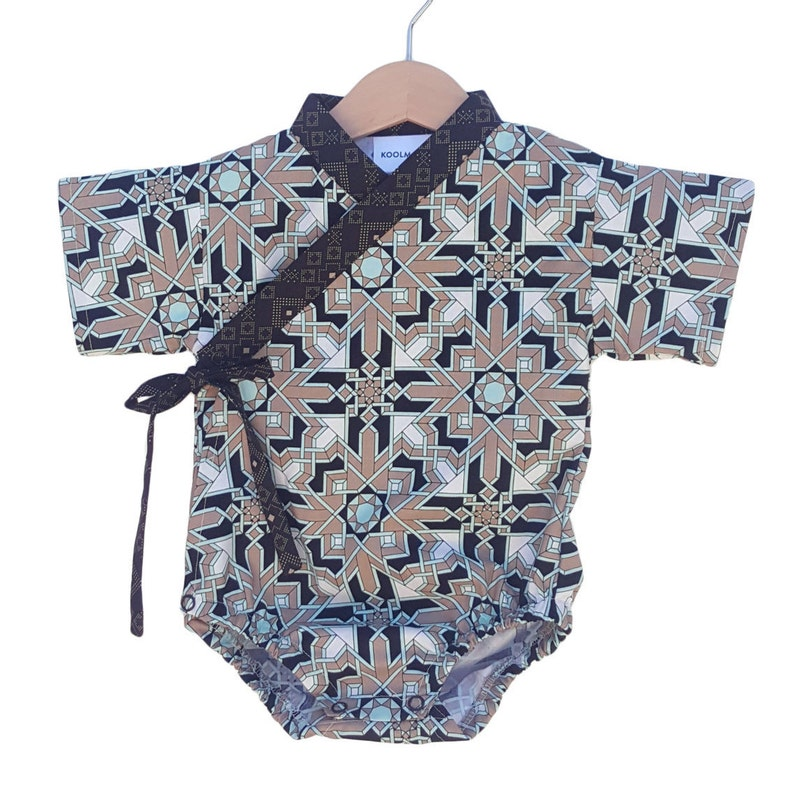 Baby Kimono Bodysuit  MOSAIC SAND  Baby outfit  cool baby image 0
