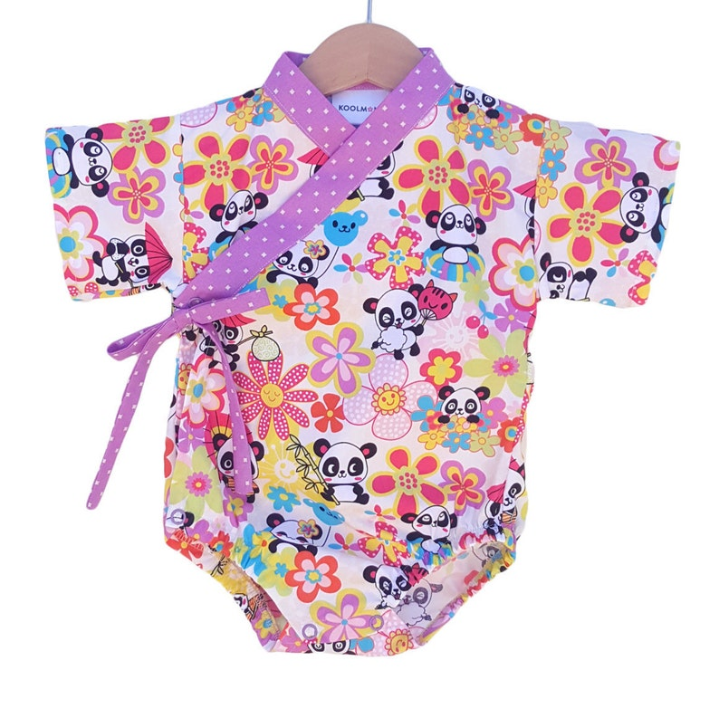 Baby Kimono Bodysuit  PANDA PARTY  Baby outfit  cool baby image 0