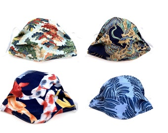 Fabric Face Covers - Japanese Asian prints - Reversible - wire for nose - pocket for filter - child adult extra large sizes