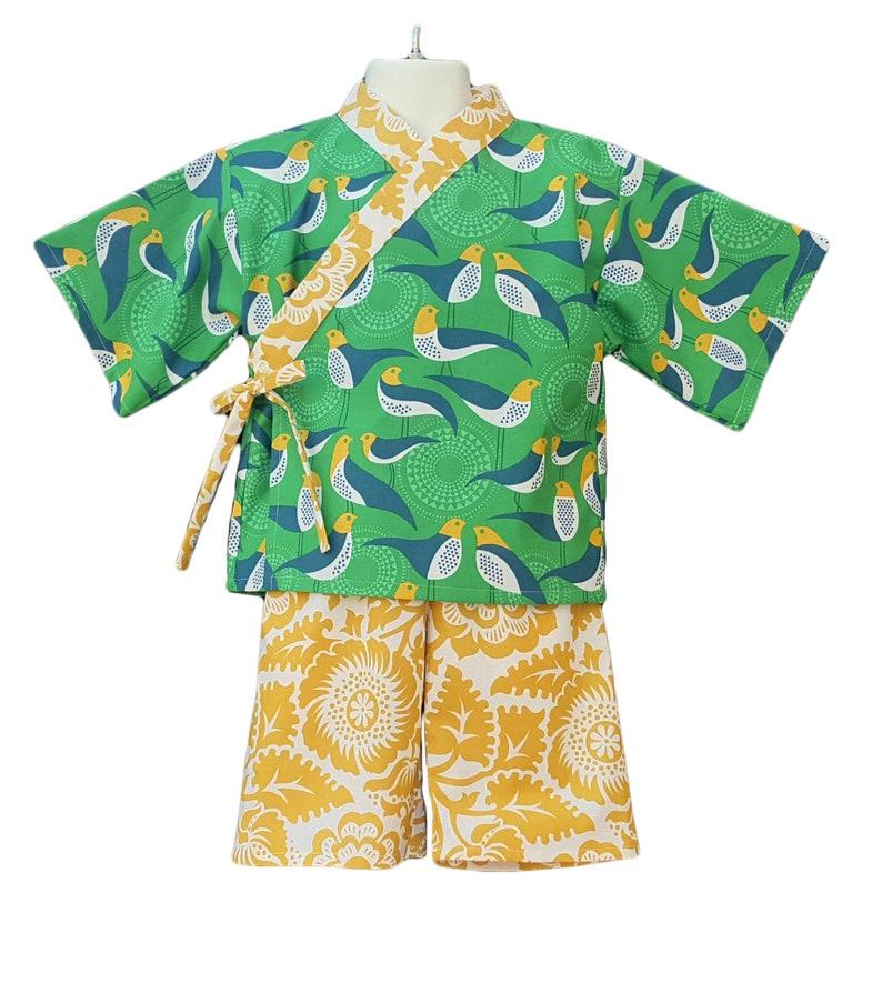 Kids Kimono  GREEN AVIARY  Japanese pajamas loungewear image 0
