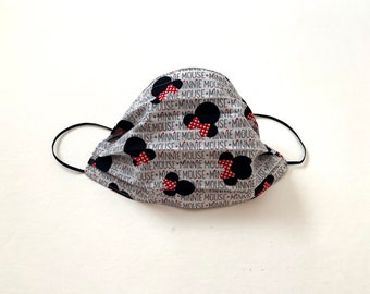 Minnie Mouse - Cotton Face Cover with nose wire - breathable - washable - comfortable - reversible - adjustable straps