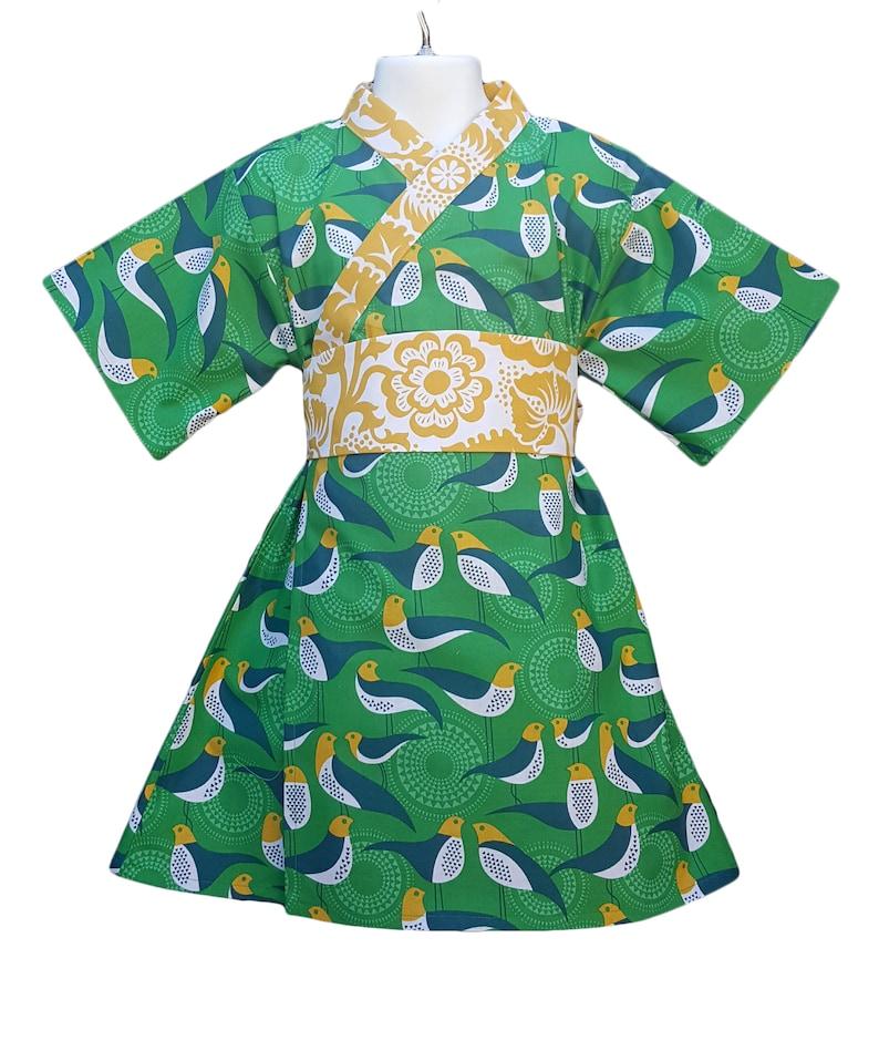 Girls Kimono Dress GREEN AVIARY Yukata Modern Kimono Size 3 image 0