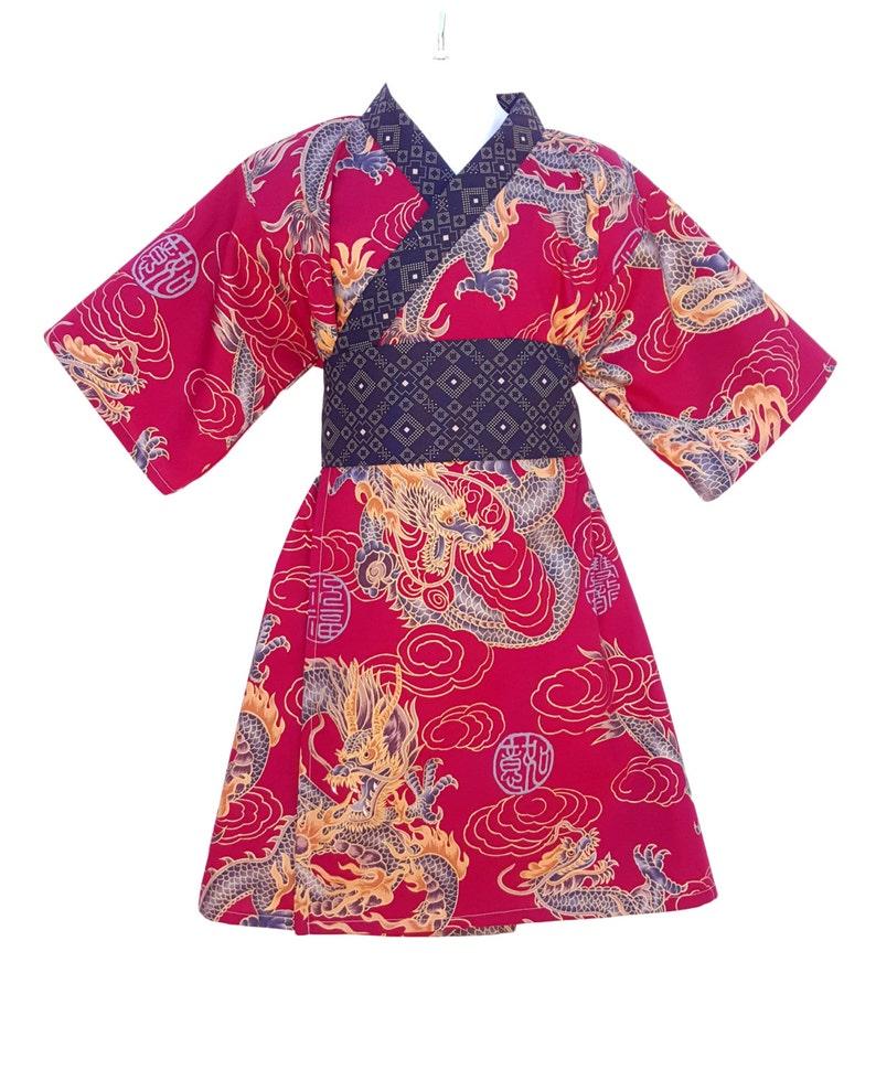 Kimono Dress RED DRAGON Yukata Modern Kimono Girls Baby image 0