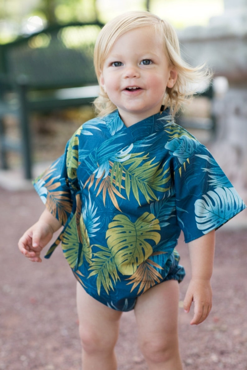 Baby Kimono Bodysuit  Tropical Teal  Baby summer outfit  image 0